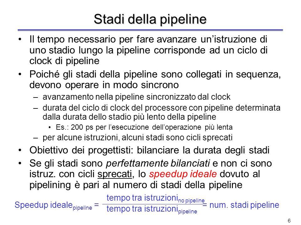 Stadi della pipeline Il tempo necessario per fare avanzare un'istruzione di uno stadio lungo la pipeline corrisponde ad un ciclo di clock di pipeline.