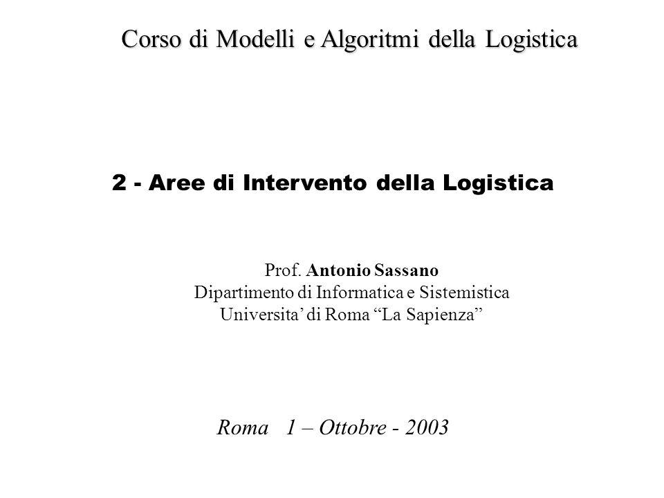 Corso di Modelli e Algoritmi della Logistica