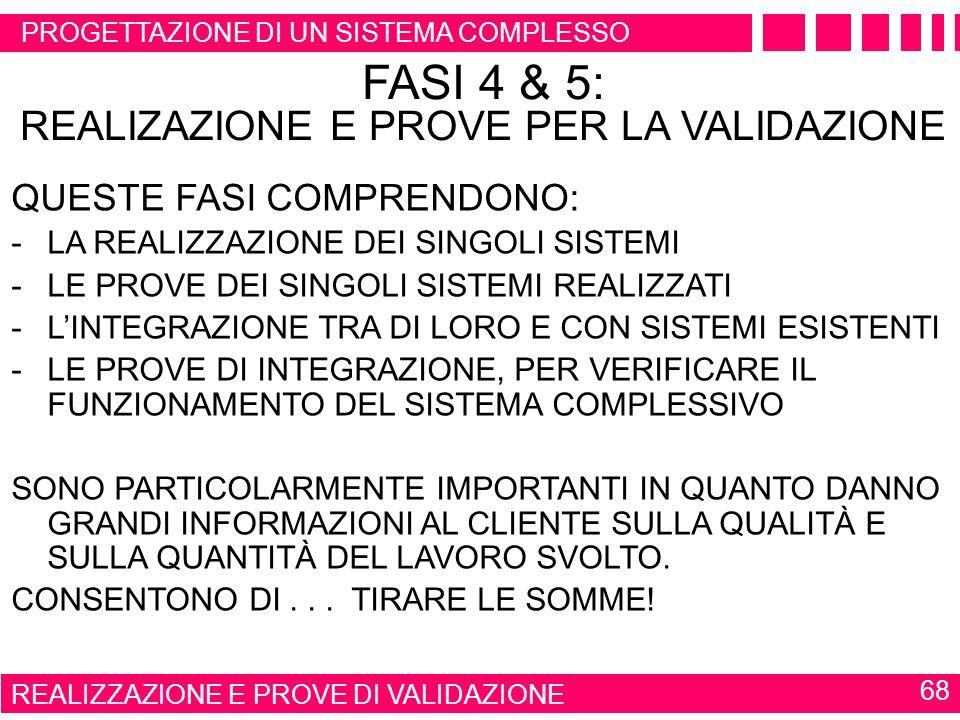 FASI 4 & 5: REALIZAZIONE E PROVE PER LA VALIDAZIONE