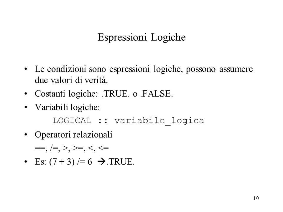 Espressioni Logiche Le condizioni sono espressioni logiche, possono assumere due valori di verità. Costanti logiche: .TRUE. o .FALSE.