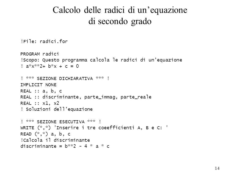 Calcolo delle radici di un'equazione di secondo grado