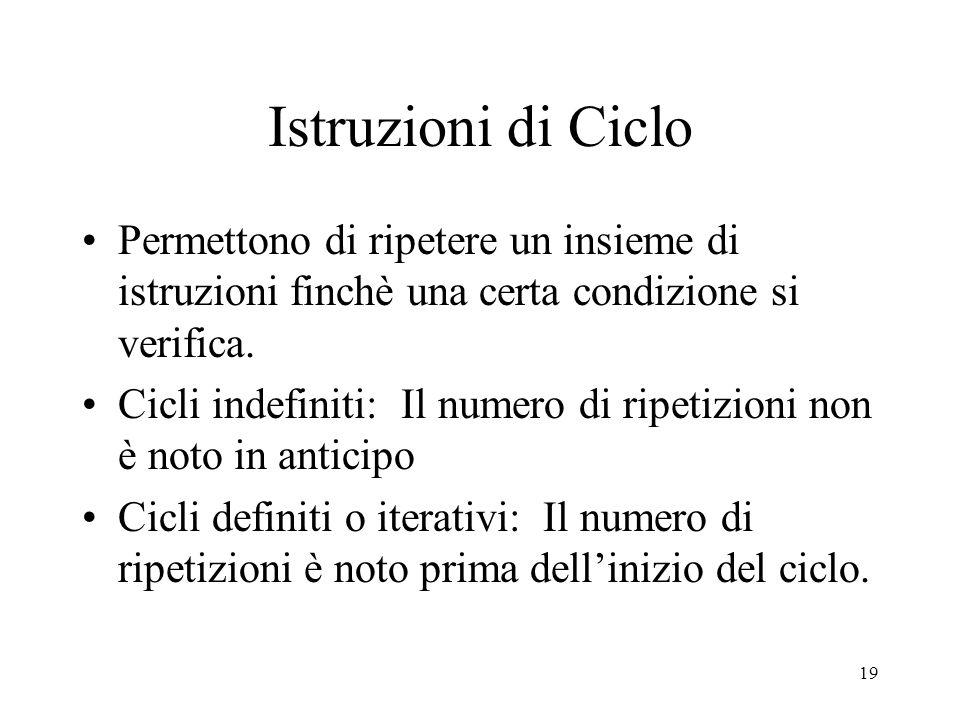 Istruzioni di Ciclo Permettono di ripetere un insieme di istruzioni finchè una certa condizione si verifica.