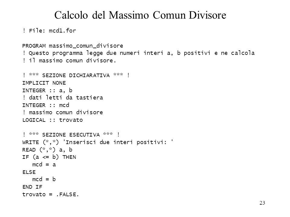 Calcolo del Massimo Comun Divisore