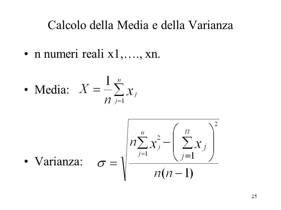 Calcolo della Media e della Varianza