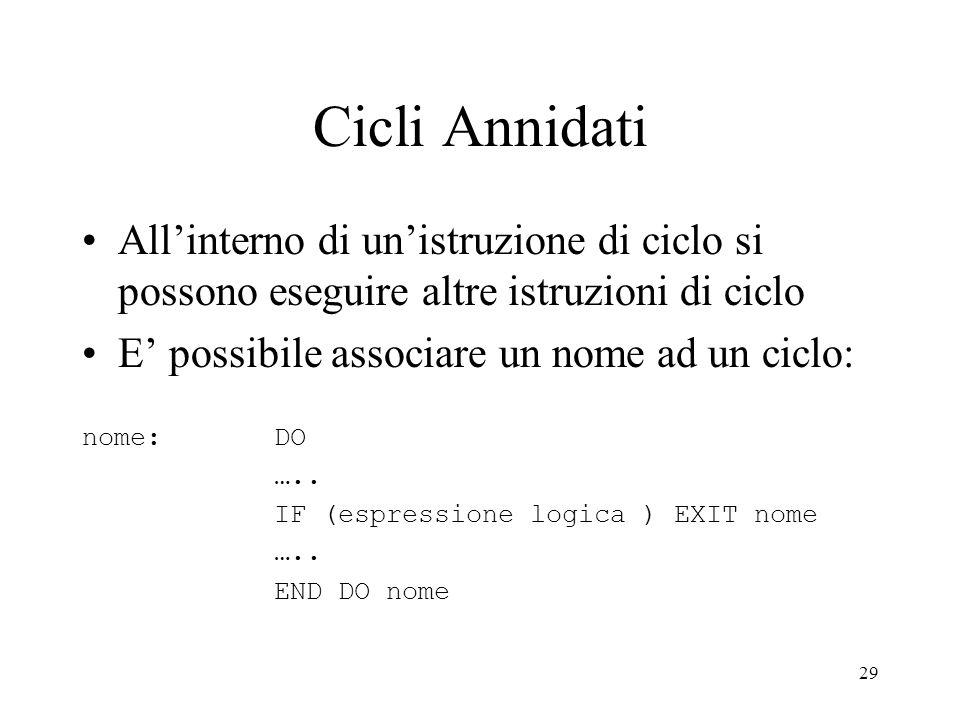 Cicli AnnidatiAll'interno di un'istruzione di ciclo si possono eseguire altre istruzioni di ciclo. E' possibile associare un nome ad un ciclo: