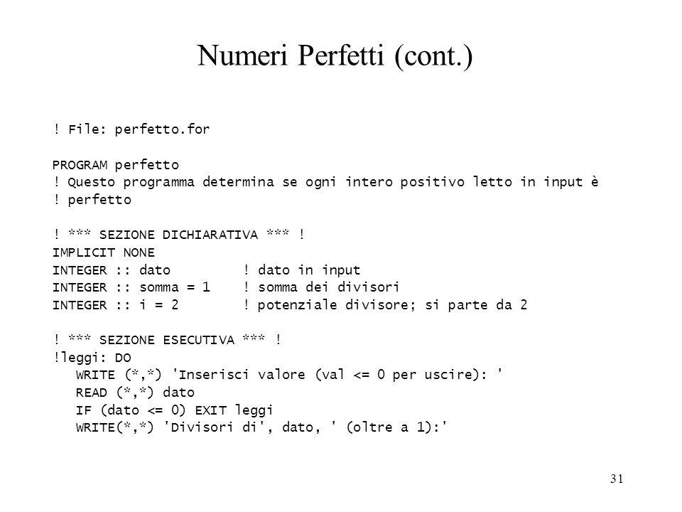 Numeri Perfetti (cont.)