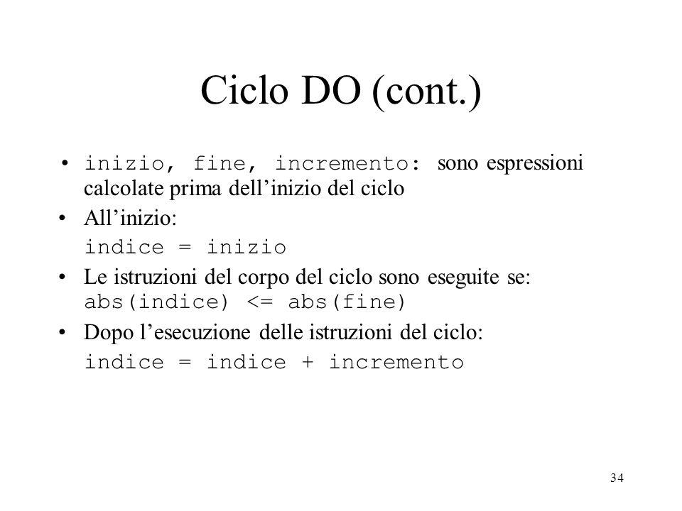 Ciclo DO (cont.)inizio, fine, incremento: sono espressioni calcolate prima dell'inizio del ciclo. All'inizio: