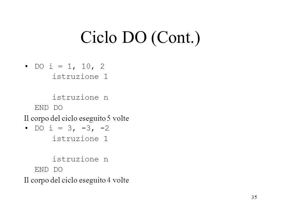 Ciclo DO (Cont.) DO i = 1, 10, 2 istruzione 1 istruzione n END DO