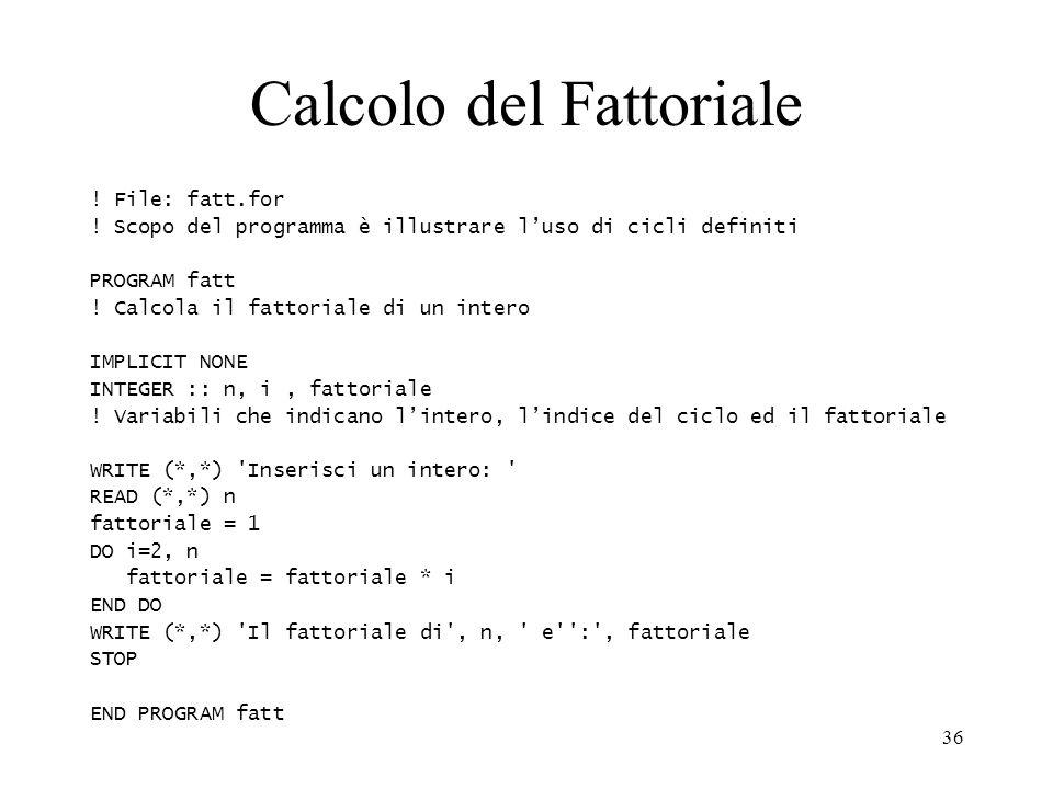 Calcolo del Fattoriale