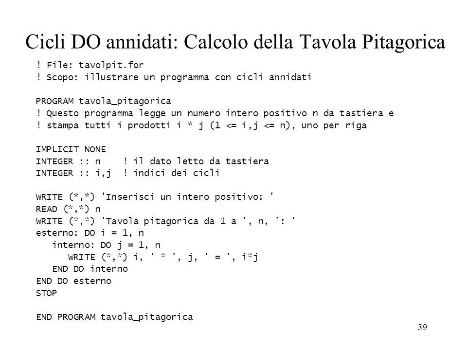 Cicli DO annidati: Calcolo della Tavola Pitagorica