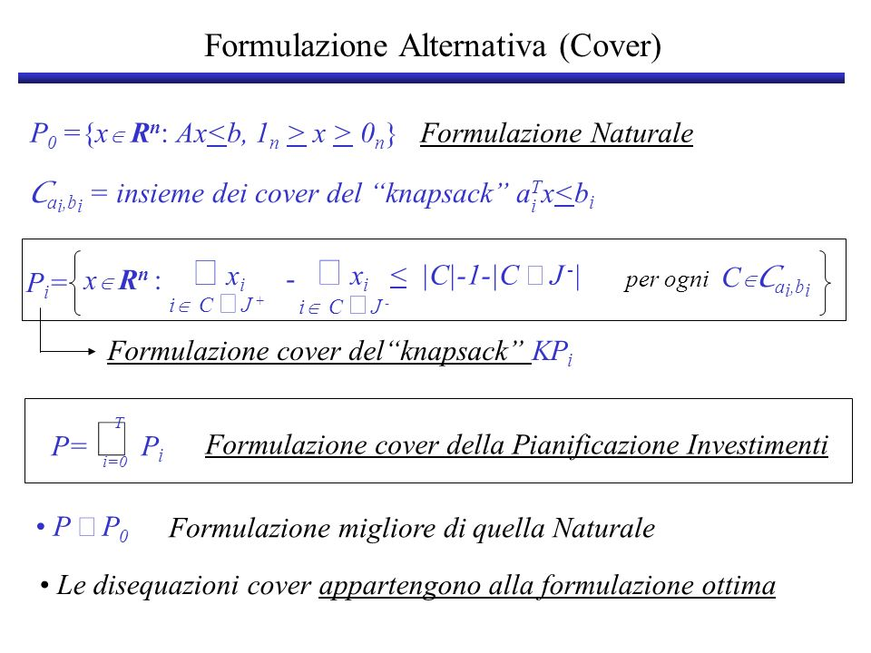 Formulazione Alternativa (Cover)