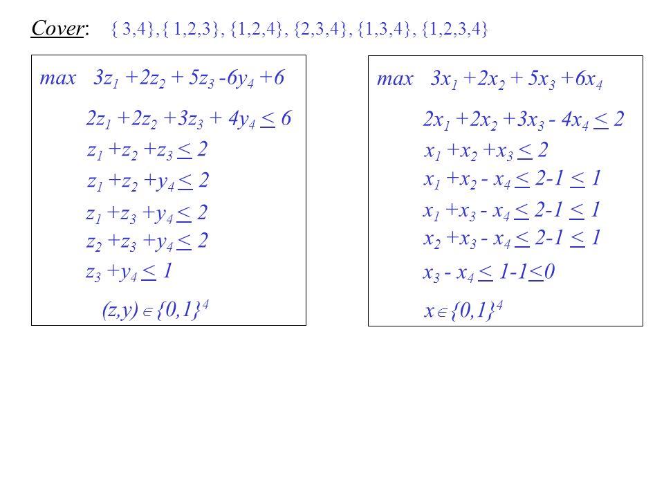 Cover: max 3z1 +2z2 + 5z3 -6y4 +6 max 3x1 +2x2 + 5x3 +6x4