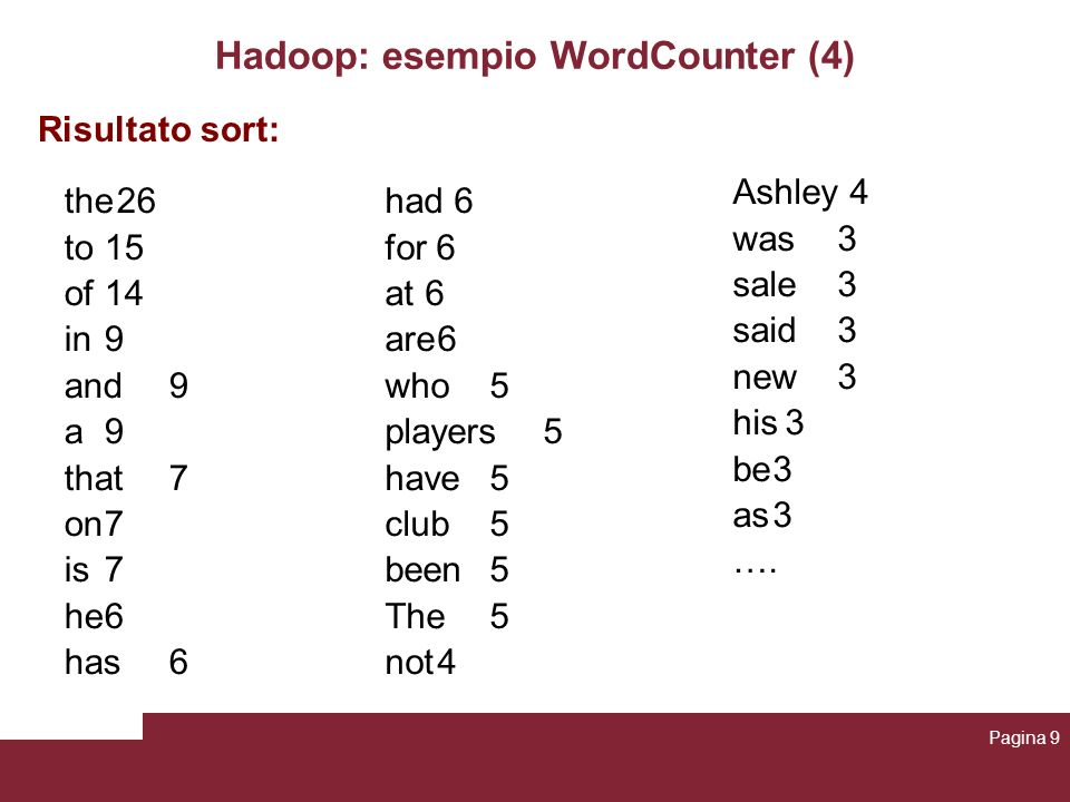 Hadoop: esempio WordCounter (4)