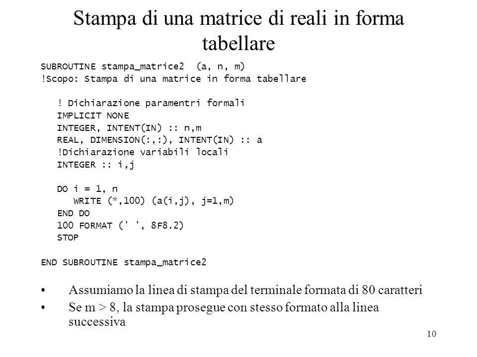 Stampa di una matrice di reali in forma tabellare