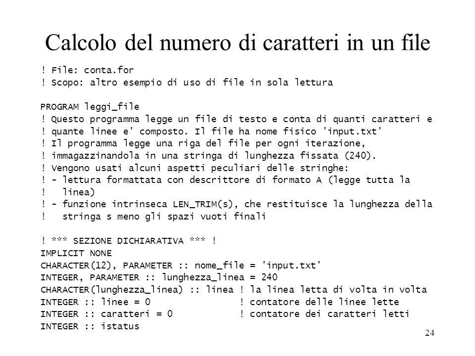 Calcolo del numero di caratteri in un file