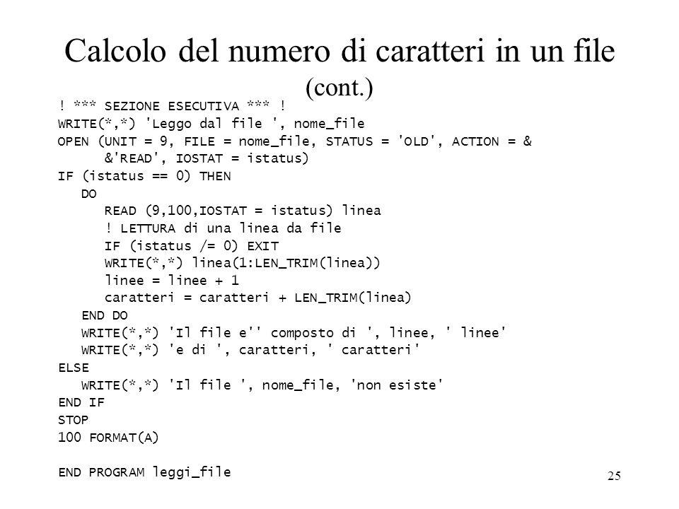 Calcolo del numero di caratteri in un file (cont.)