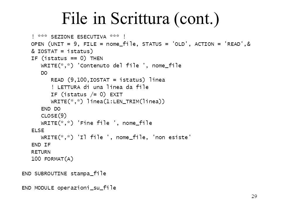 File in Scrittura (cont.)