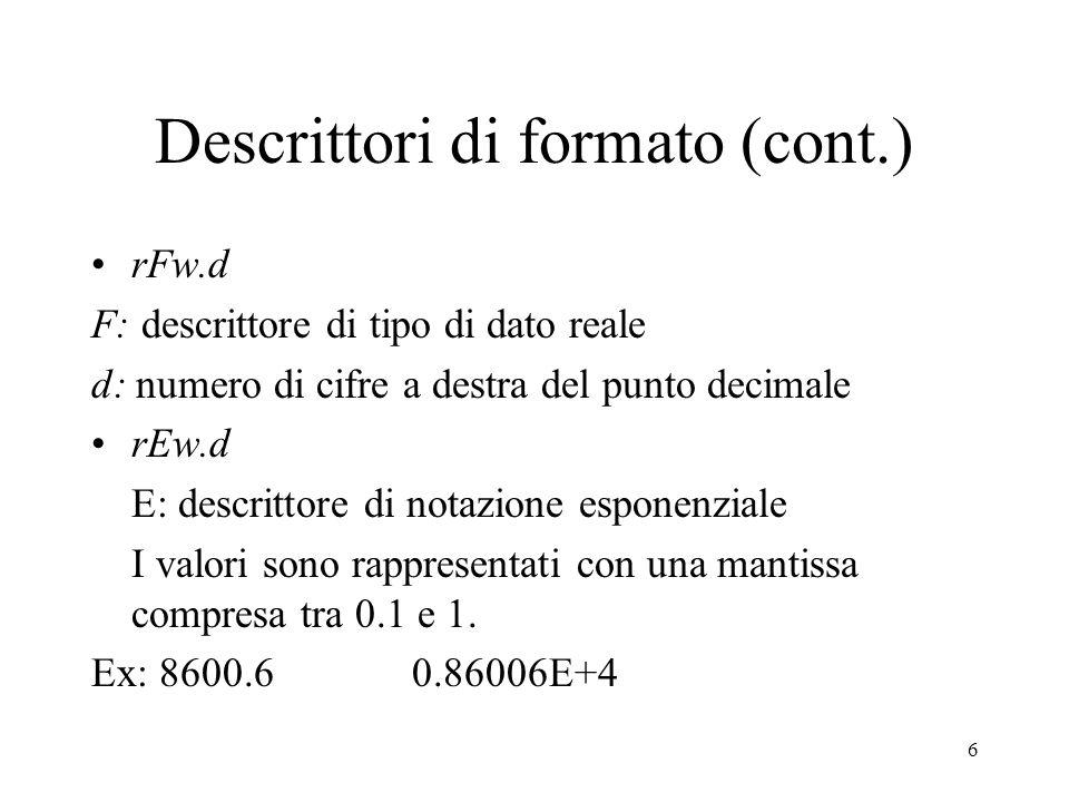 Descrittori di formato (cont.)