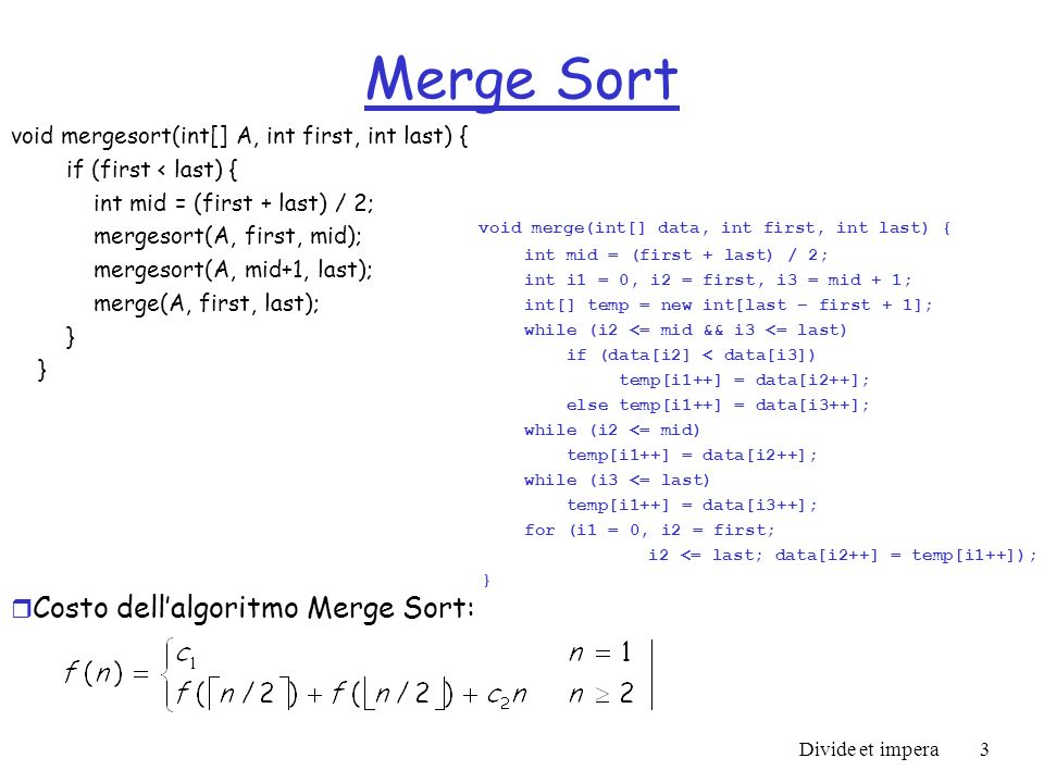 Costo dell'algoritmo Merge Sort: