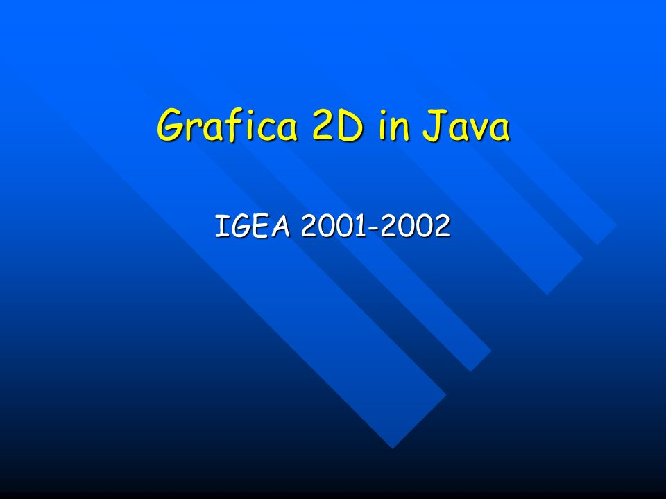 Grafica 2D in Java IGEA 2001-2002