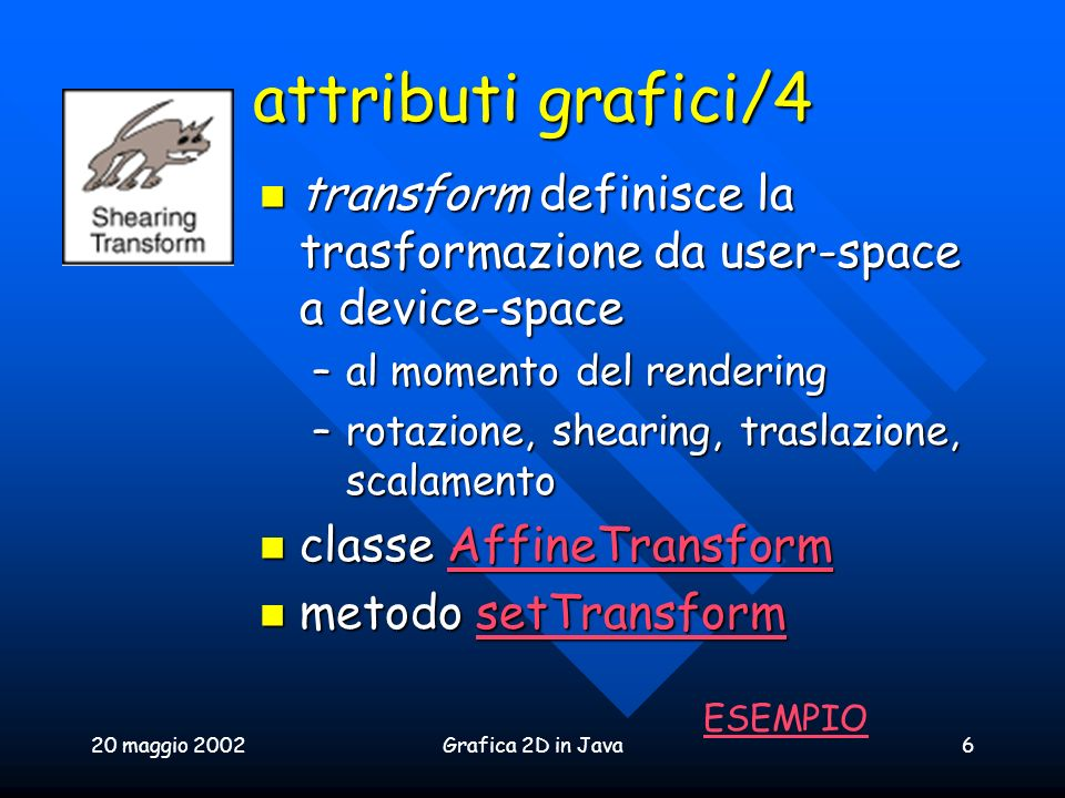 attributi grafici/4 transform definisce la trasformazione da user-space a device-space. al momento del rendering.