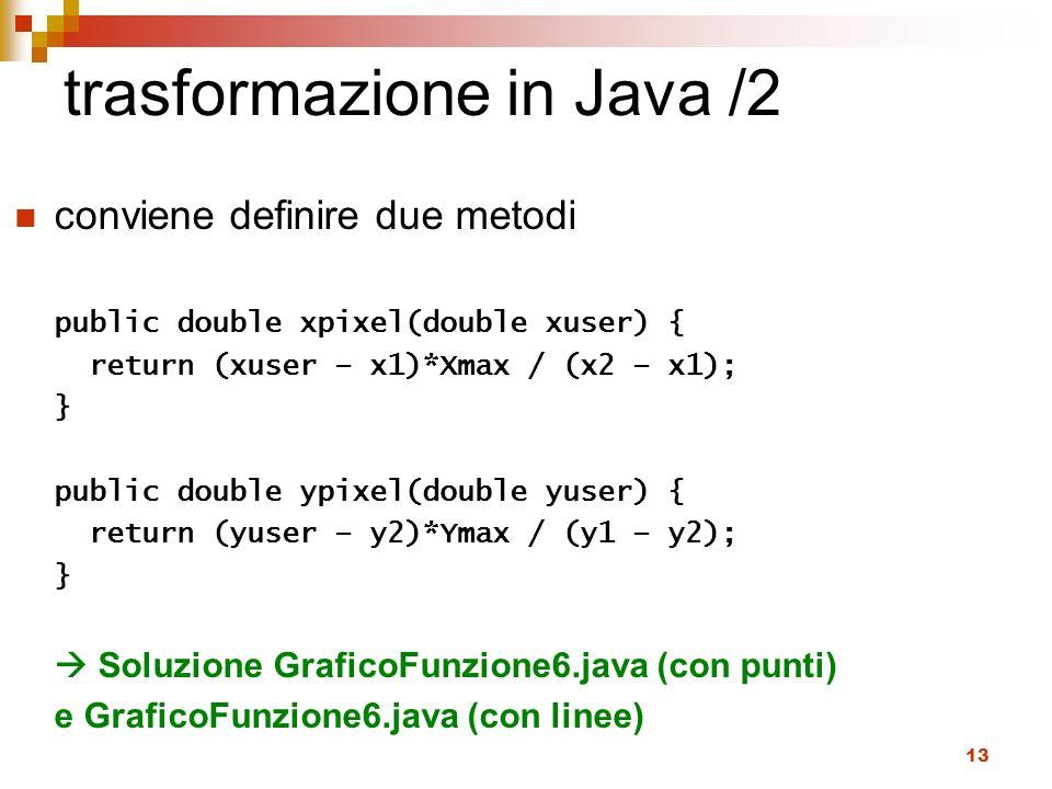 trasformazione in Java /2