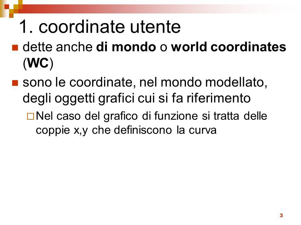 1. coordinate utente dette anche di mondo o world coordinates (WC)