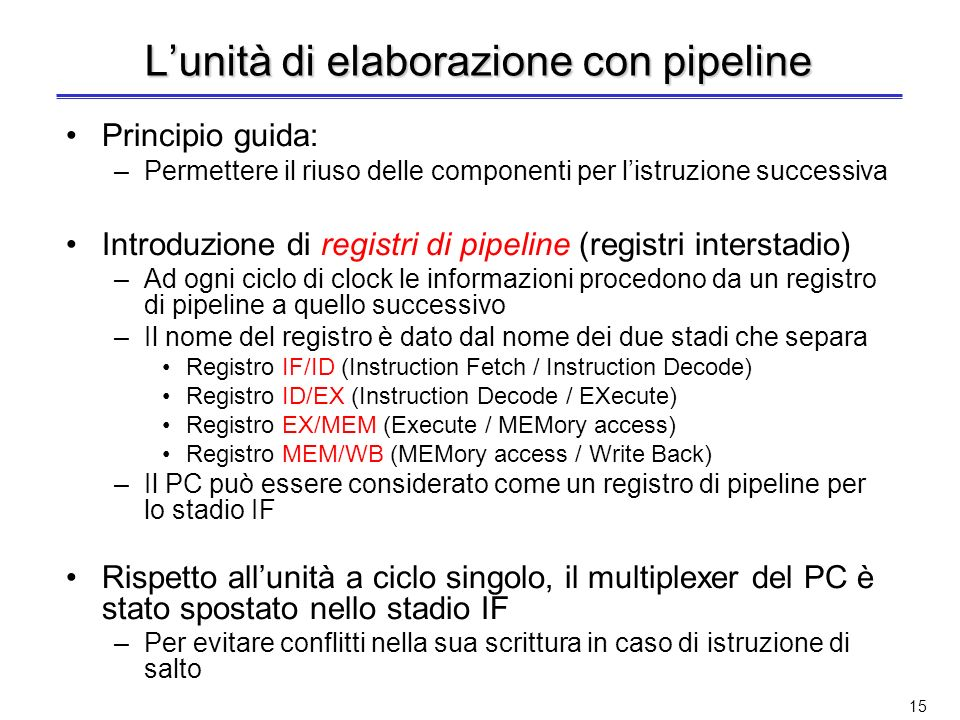 L'unità di elaborazione con pipeline