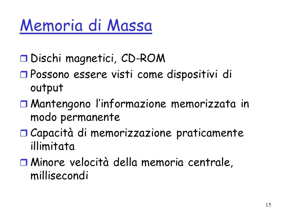 Memoria di Massa Dischi magnetici, CD-ROM