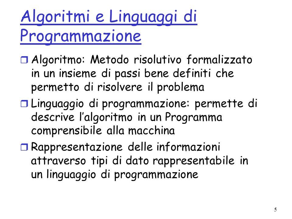 Algoritmi e Linguaggi di Programmazione