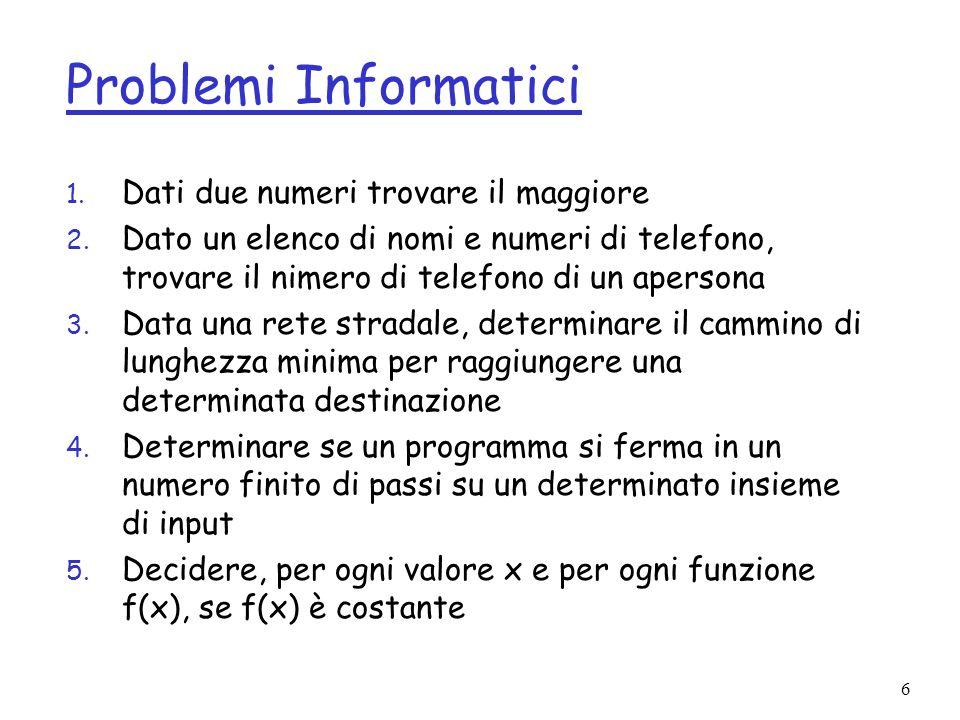 Problemi Informatici Dati due numeri trovare il maggiore