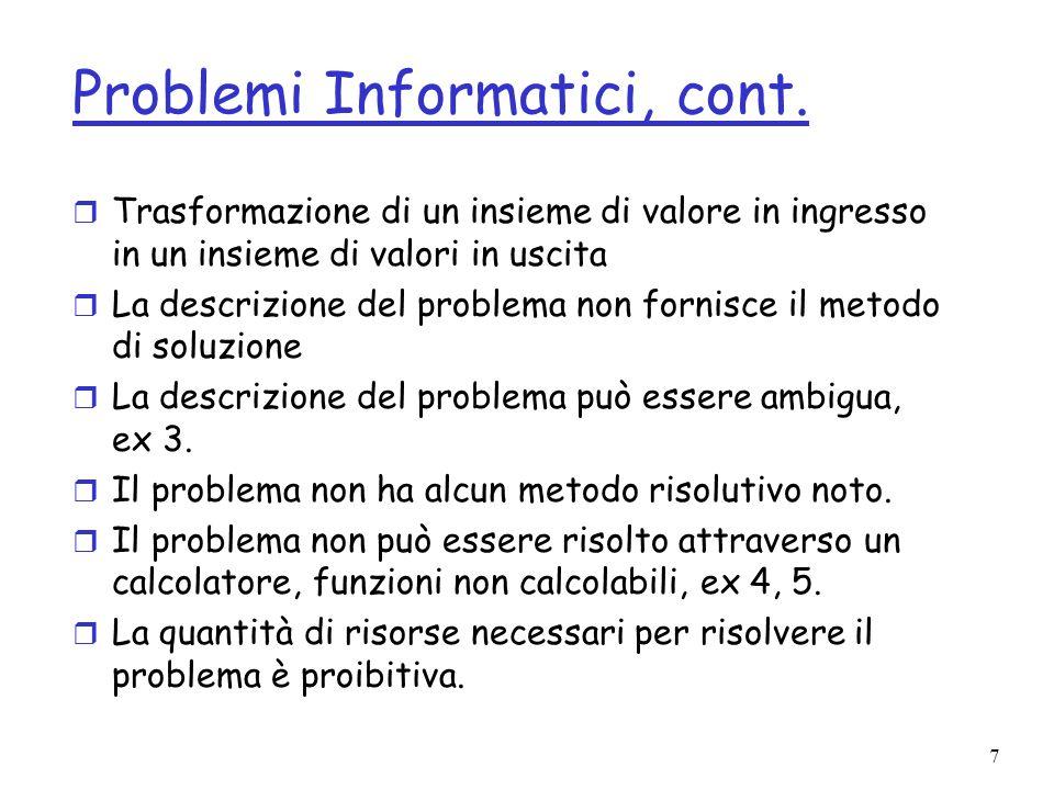 Problemi Informatici, cont.