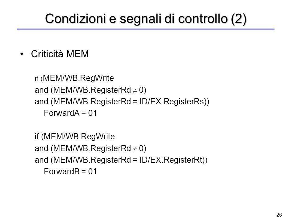 Condizioni e segnali di controllo (2)