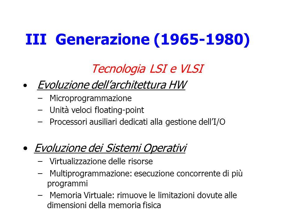 III Generazione (1965-1980) Tecnologia LSI e VLSI
