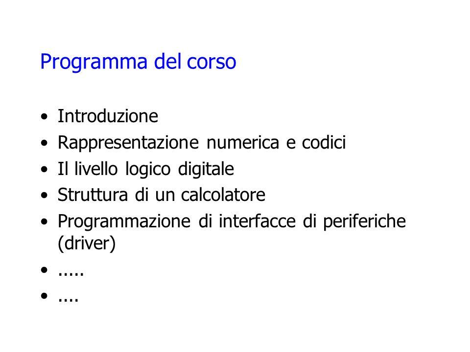 Programma del corso Introduzione Rappresentazione numerica e codici