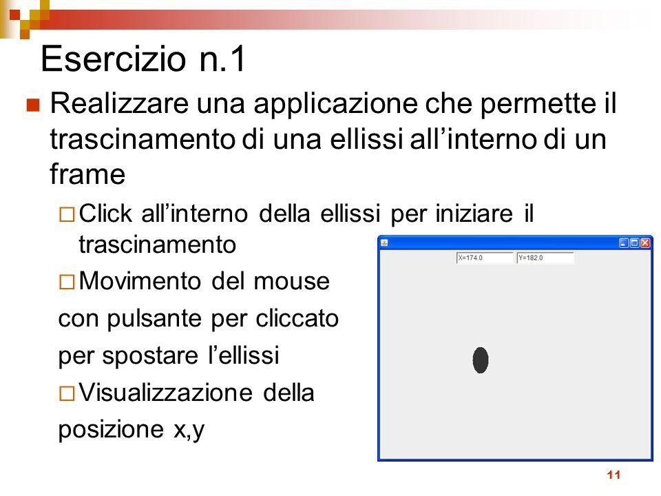 Esercizio n.1 Realizzare una applicazione che permette il trascinamento di una ellissi all'interno di un frame.