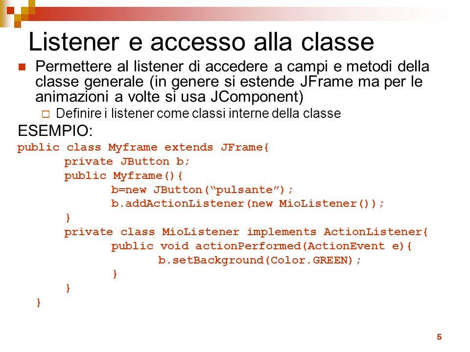 Listener e accesso alla classe