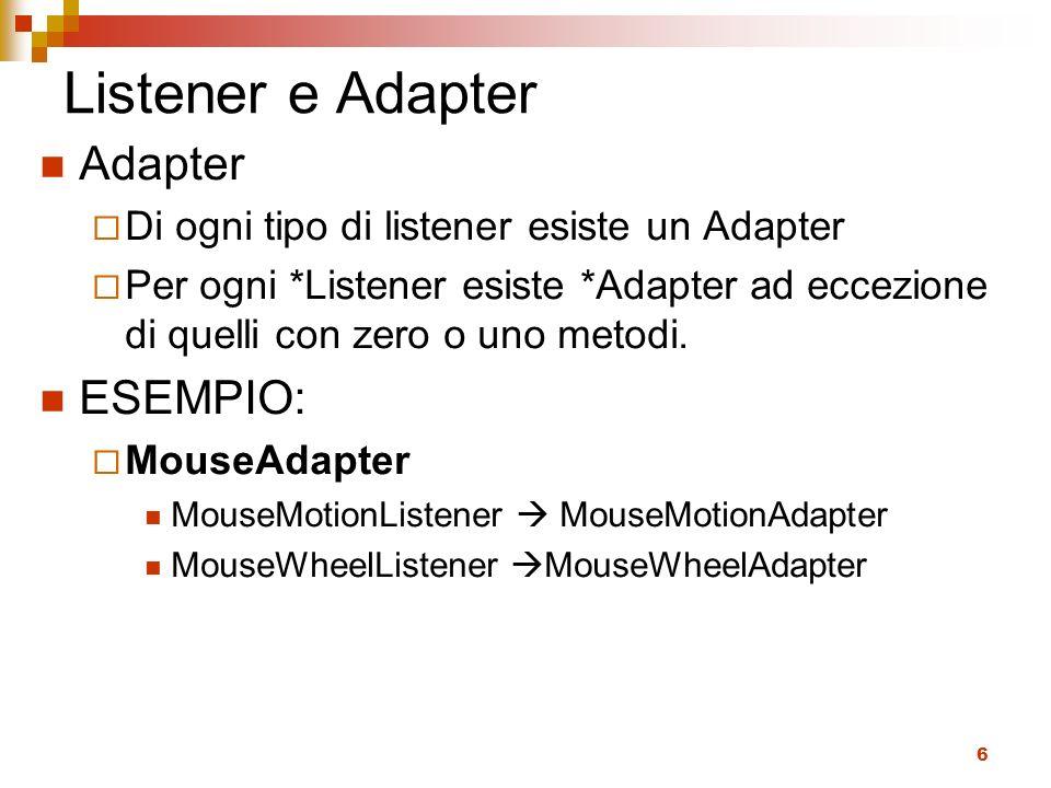 Listener e Adapter Adapter ESEMPIO: