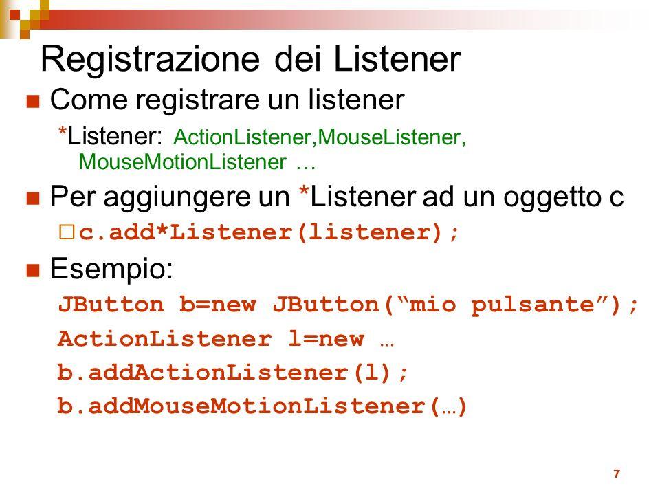 Registrazione dei Listener