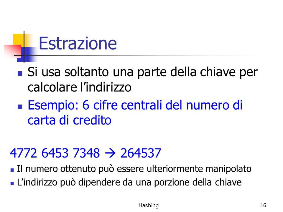 Estrazione Si usa soltanto una parte della chiave per calcolare l'indirizzo. Esempio: 6 cifre centrali del numero di carta di credito.