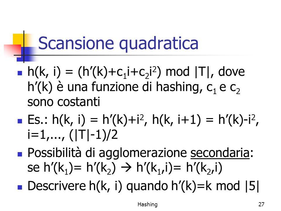 Scansione quadratica h(k, i) = (h'(k)+c1i+c2i2) mod |T|, dove h'(k) è una funzione di hashing, c1 e c2 sono costanti.
