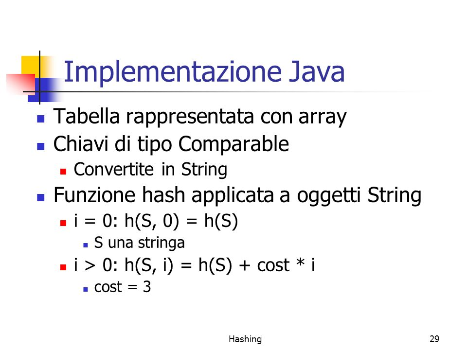 Implementazione Java Tabella rappresentata con array