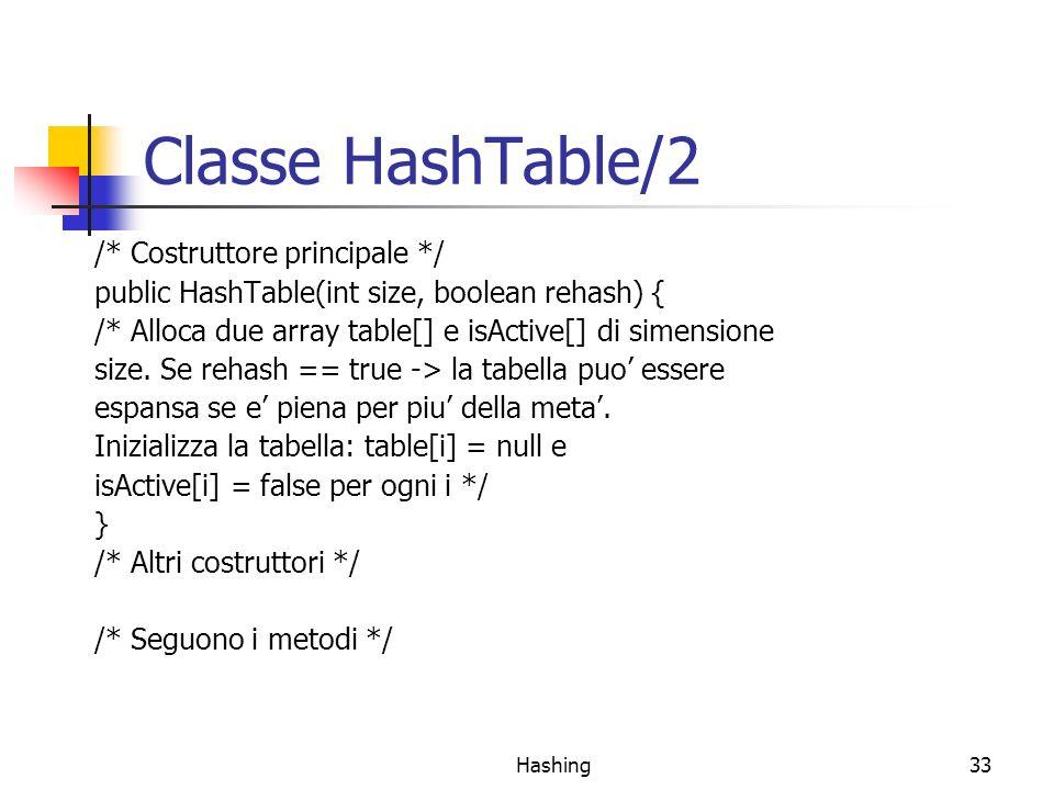 Classe HashTable/2 /* Costruttore principale */
