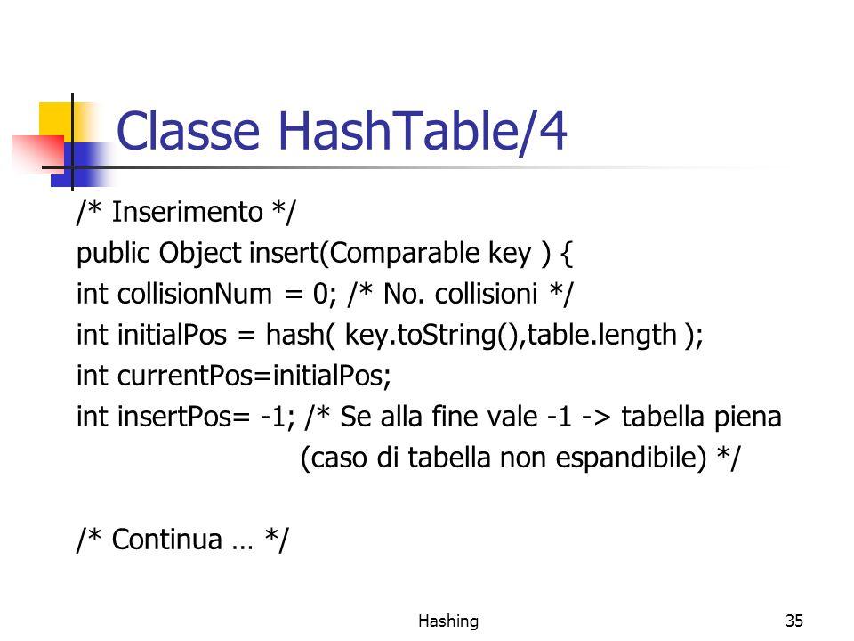 Classe HashTable/4 /* Inserimento */