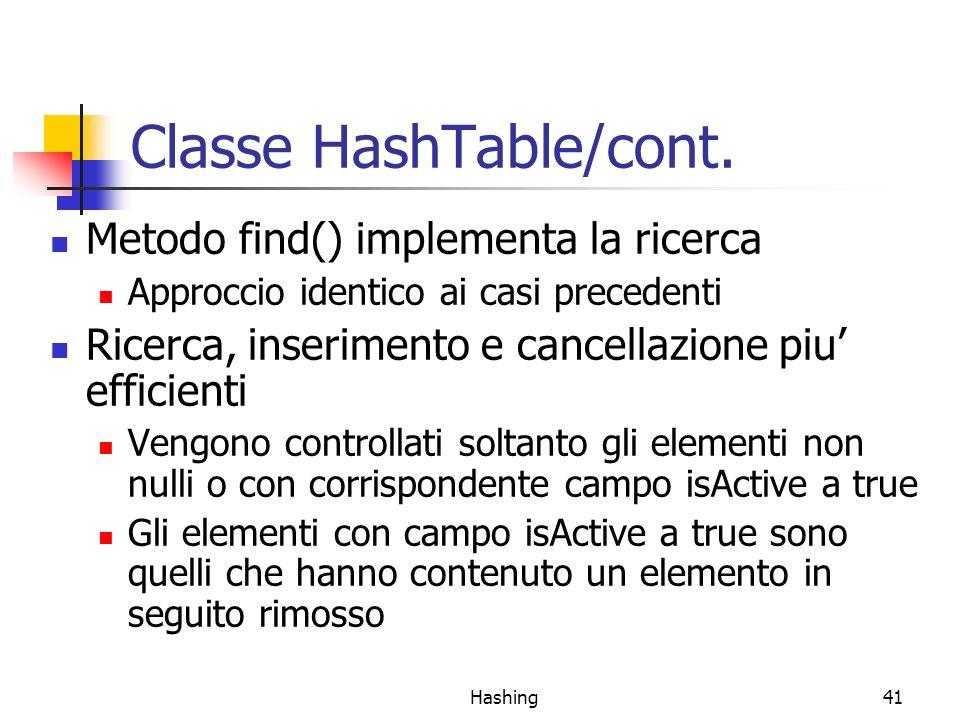 Classe HashTable/cont.