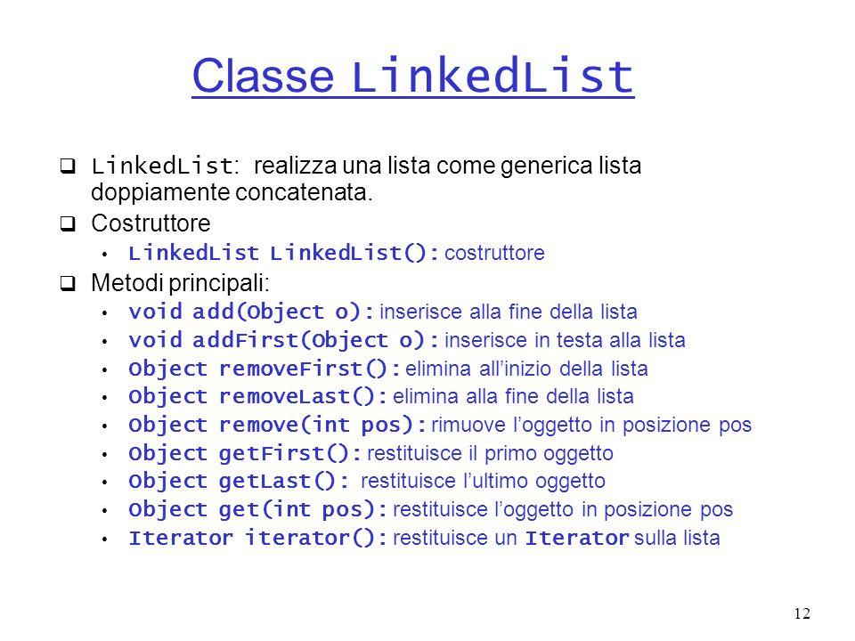 Classe LinkedList LinkedList: realizza una lista come generica lista doppiamente concatenata. Costruttore.