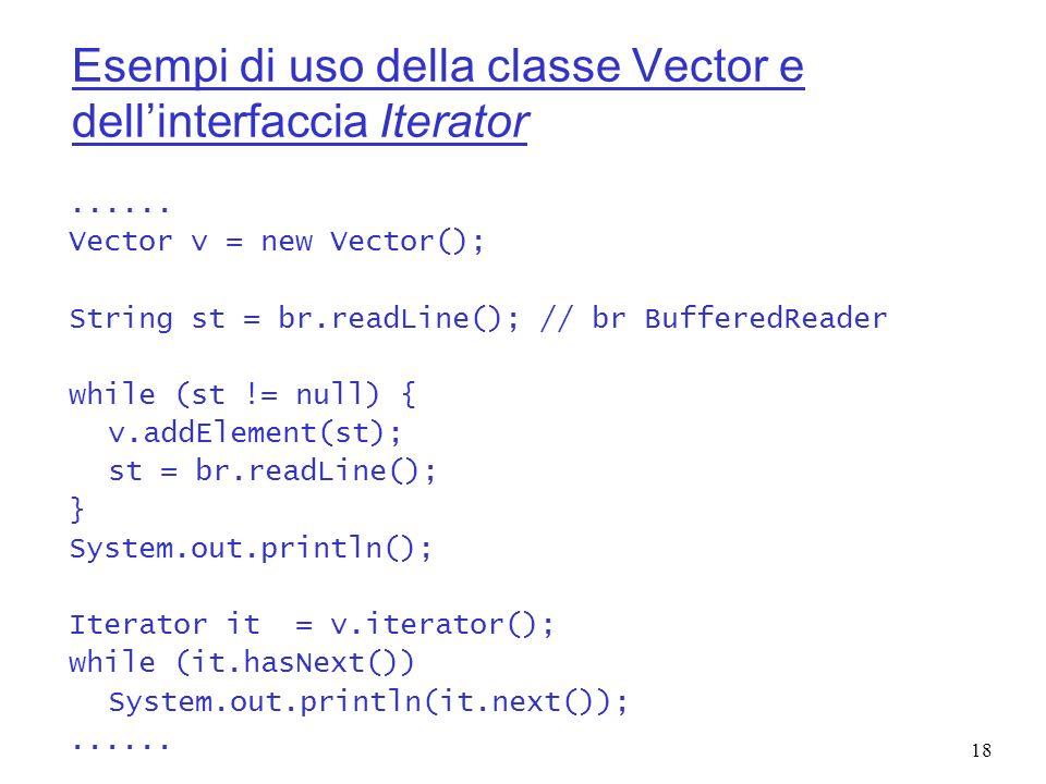 Esempi di uso della classe Vector e dell'interfaccia Iterator