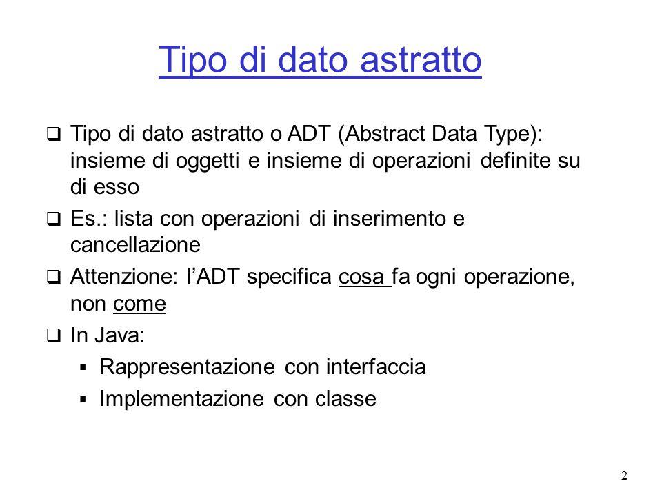 Tipo di dato astratto Tipo di dato astratto o ADT (Abstract Data Type): insieme di oggetti e insieme di operazioni definite su di esso.