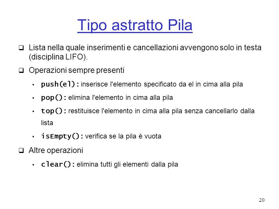 Tipo astratto Pila Lista nella quale inserimenti e cancellazioni avvengono solo in testa (disciplina LIFO).
