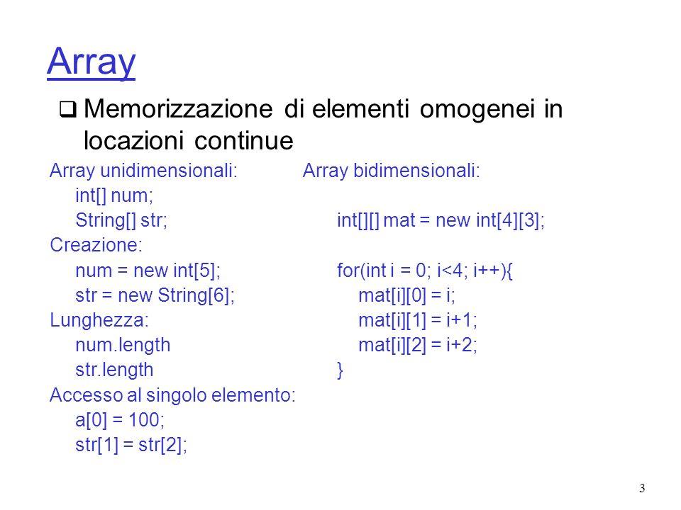 Array Memorizzazione di elementi omogenei in locazioni continue